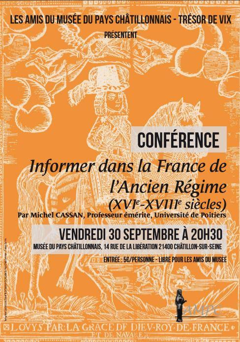 """Conférence : """"Informer dans la France de l'ancien régime """""""
