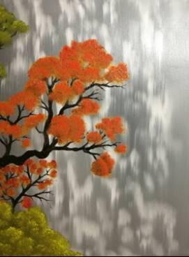 Dessin et peinture - vidéo 2403 : Vieil Arbre Orange - Huile sur Toile pour débutant.
