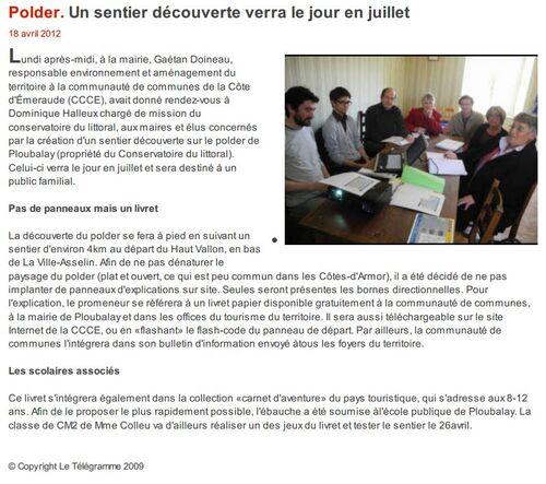 Le Télégramme - 18/04/2012 - Polder. Un sentier découverte verra le jour en juillet