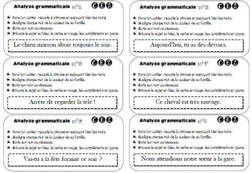 Les exercices d'analyse grammaticale