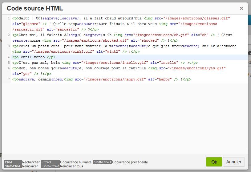 Insérer du code dans vos articles et dans vos menus