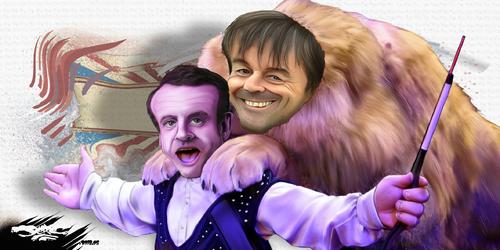 dessin de JERC et Akaku du lundi 04 juin 2018 caricature Emmanuel Macron Ecologie : c'est quoi ce cirque, Sont-ils félins pour l'autre ? www.facebook.com/jercdessin @dessingraffjerc