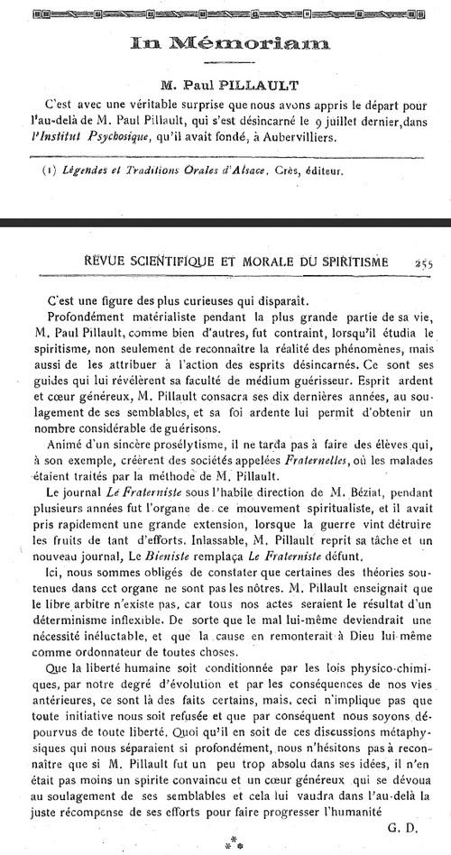 Paul Pillault - In Mémoriam (Revue scientifique et morale du spiritisme, v24, janvier 1921)