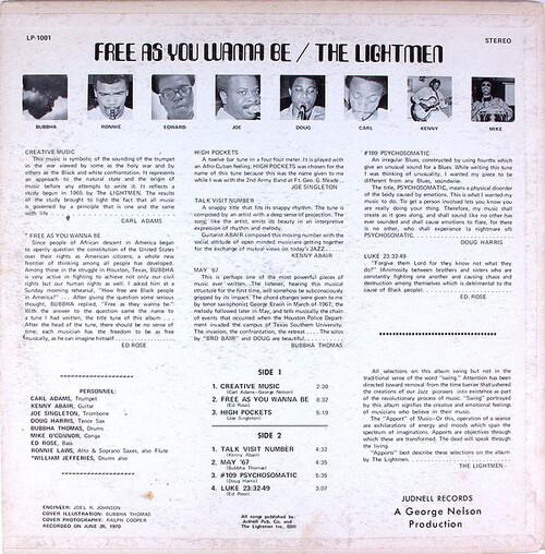 "The Lightmen ( Bubbha Thomas ) : Album "" Free As You Wanna Be ""Judnell Records LP-1001 [ US ] le 26 Juin 1970"