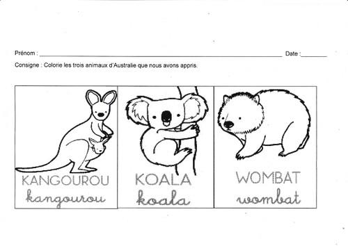 Fiche de travail MS: coloriage des animaux