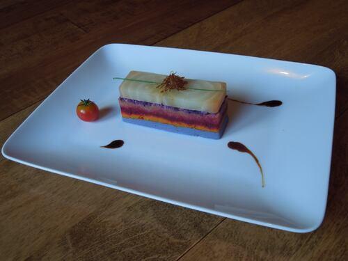 purée de choux rouge au gingembre, potimarron, betterave rouge, betterave rose, pomme de terre bleue, et à nouveau de la betterave ...
