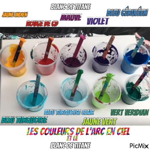 """Dessin et peinture - vidéo 3489 - Comment réaliser un arc en ciel de couleurs avec le """"pouring méthode"""" ? - peinture acrylique fluide."""