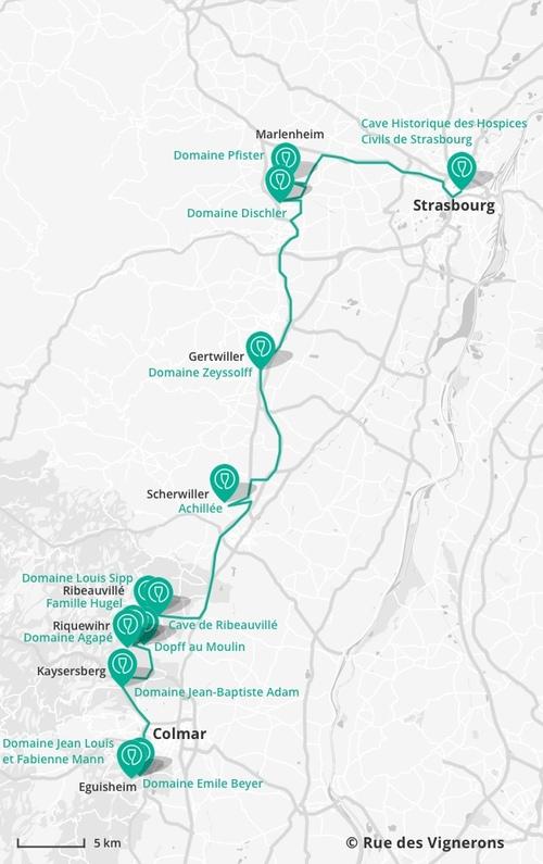 La carte de la route des vins d'Alsace (Clic)