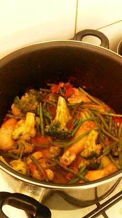 pilons de poulet aux petit légumes de saison