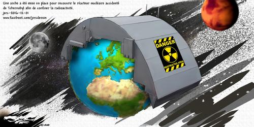 dessin de JERC jeudi 01 décembre 2016 caricature de l'enceinte de confinement de Tchernobyl Politique de l'autruche.   www.facebook.com/jercdessin