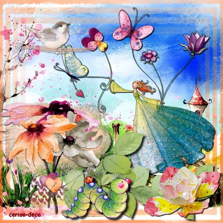 cluster gratuit : le printemps aquarelle