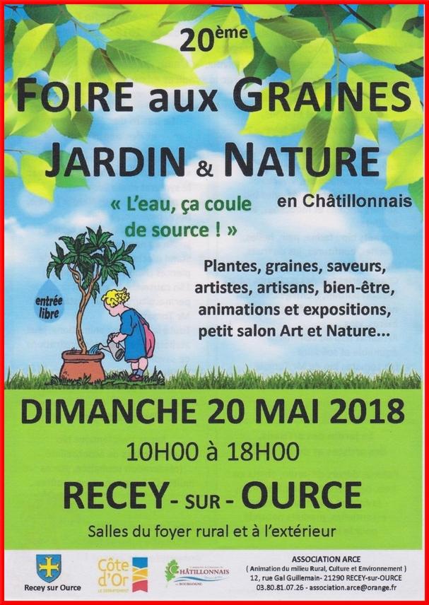 """""""La foire aux graines, Jardin et Nature aura lieu le 20 mai 2018"""
