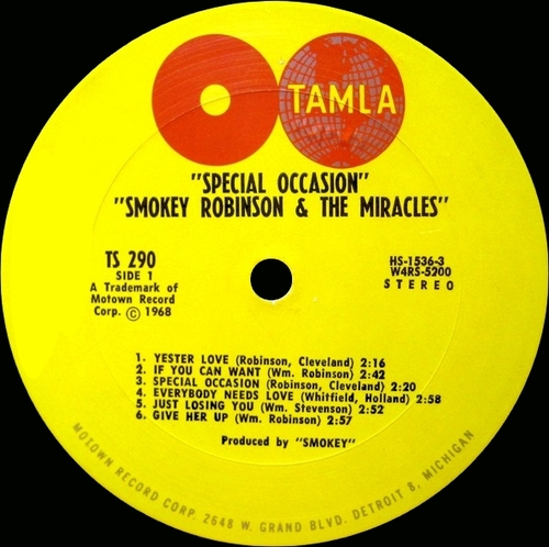 "Smokey Robinson & The Miracles : Album "" Special Occasion "" Tamla Records TS 290 [ US ]"