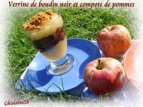 Verrines de boudin noir et compote de pommes