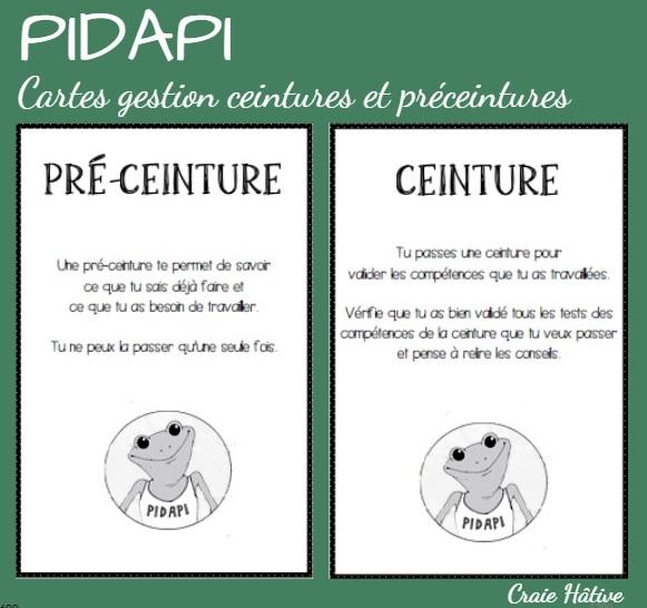 Des cartes pour la distribution des ceintures et des pré-ceintures PIDAPI