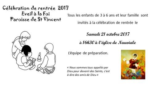 Invitation célébration de rentrée le 21 octobre 2017 à Nauviale