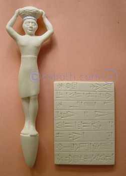 Copies d'art: statuette sumérienne et tablette d'écriture cunéiforme - Arts et sculpture: sculpteur mouleur