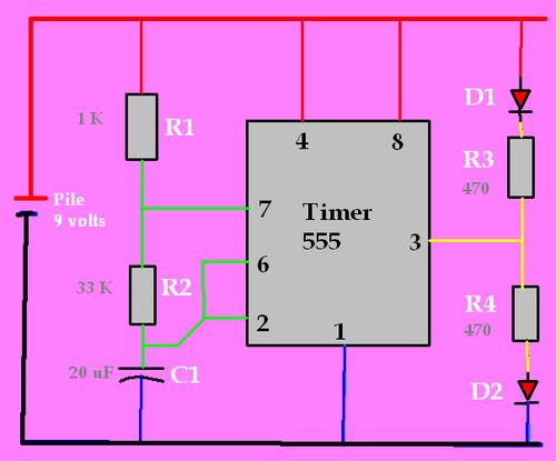 Circuit clignotant avec un 555