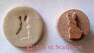mini tampon à imprimer lapin - Arts et Sculpture: sculptrice sur bois