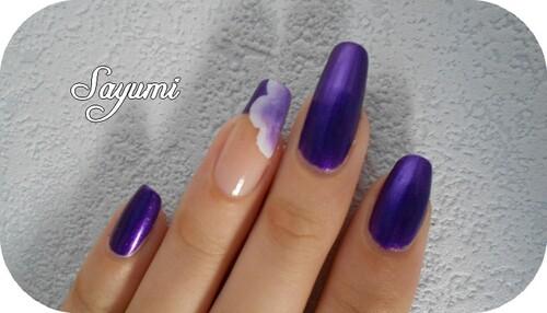 Nail Art Fleur sur French Violette