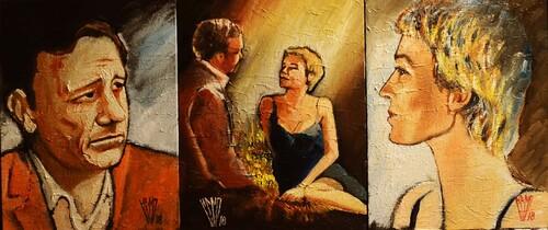 """"""" Triptyque romantique...tique...tique...! """"  Huile sur carton toilé  81X37"""