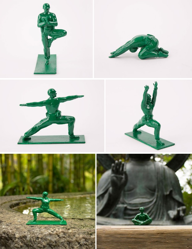 Classic Green Army Figures Practicing Yoga x 6