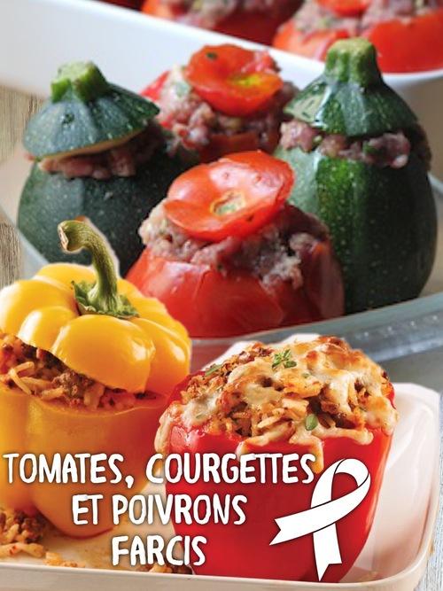 Tomates, courgettes et poivrons farcis.
