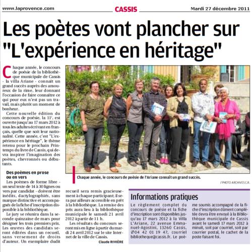 """Cassis : Les poètes vont plancher sur """"L'expérience en héritage"""""""