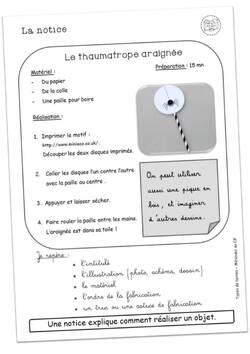 La notice - réalisation d'un thaumatrope
