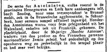 Temple de Schaerbeek - inauguration (Nieuwe Rotterdamsche Courant, Maandag 3 Augustus 1925)