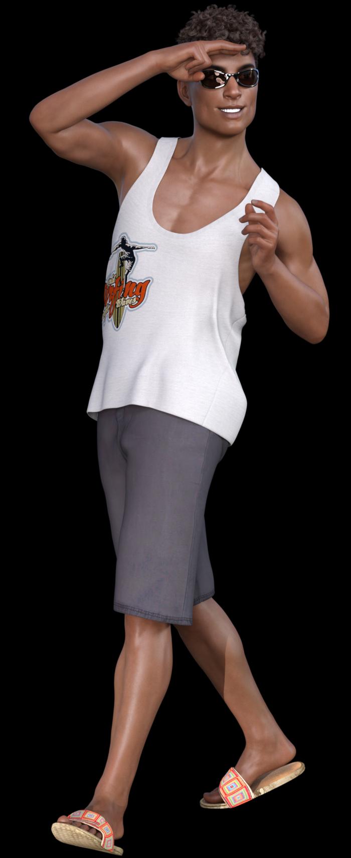 Image homme bronzé en tenue d'été (tube)