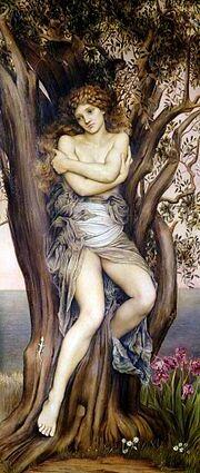 La peinture montre une femme peu vêtue, assise au centre d'un arbre.