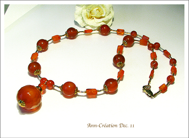Collier Pendentif Perles de Cornaline / Plaqué Or Gold Filled