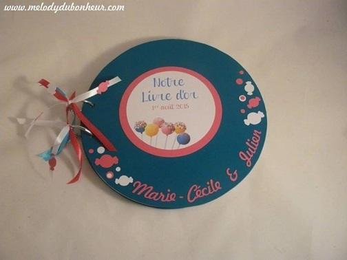 Livre d'or rond mariage gourmand sucette bonbon