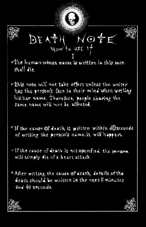 Death note résumé
