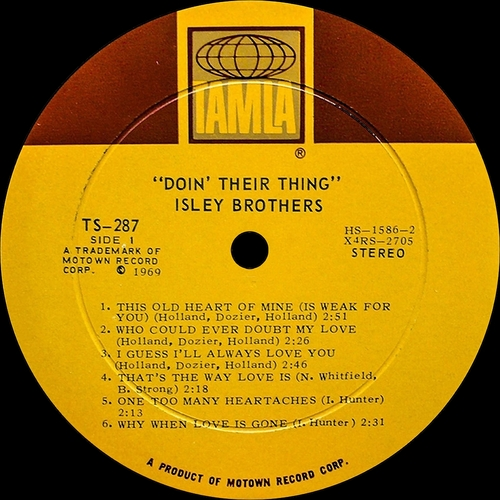 "The Isley Brothers : Album "" Doin' Their Thing "" Tamla Records TS 287 [ US ]"