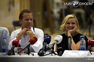 Kiefer Sutherland et Kirsten Dunst, lors de la conférence de presse pré-tournage de  Melancholia , en juillet 2010.