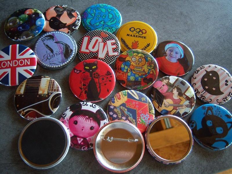 mes dernières créations de badges, magnets et miroirs...