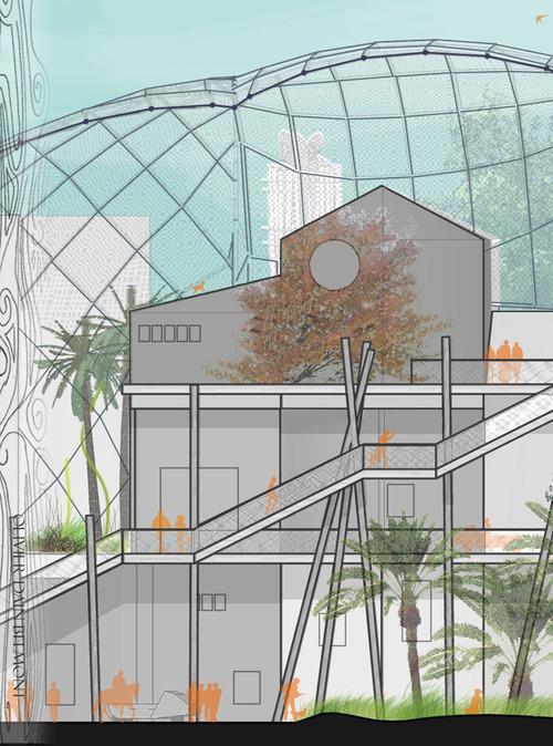 La Maison des Villes: Coupe longitudinale sur rue