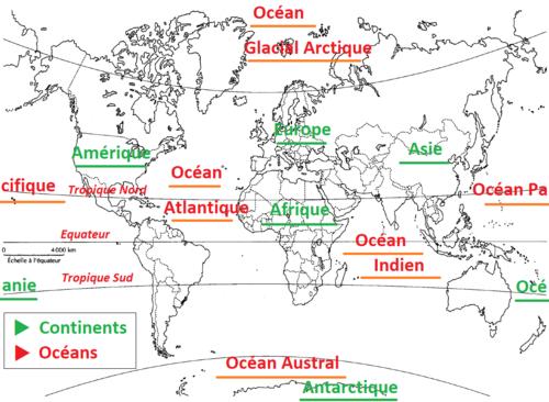 Le planisphère, les continents, les océans, quelques Etats