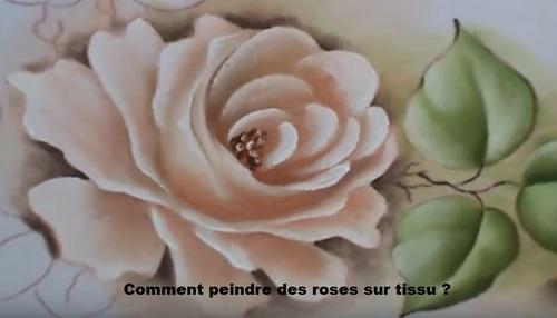 Dessin et peinture - vidéo 2830 : Comment peindre des roses sur du tissu ? - peinture textile.