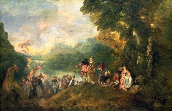J A Watteau   l'embarquement pour  Cythère