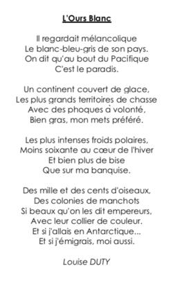 Poésie CE2 : «L'ours blanc» (Louise Duty)