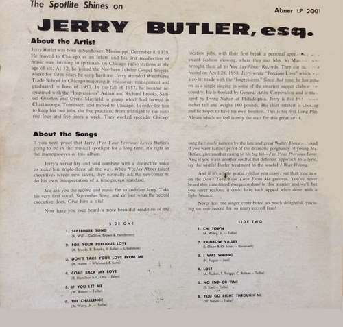 "Jerry Butler : Album ""  Jerry Butler, Esq. "" Abner Records LP 2001 [ US ]"