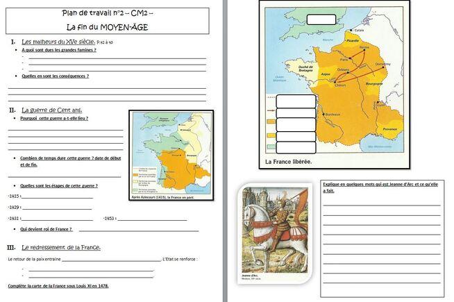 histoire : plan de travail CM la fin du Moyen-Age