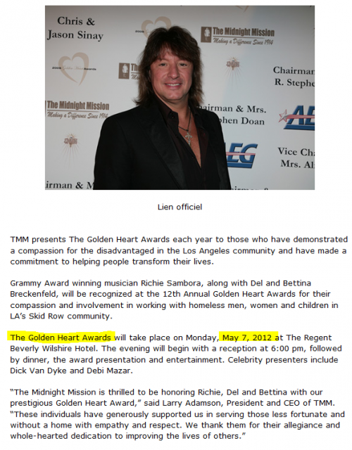 Richie Sambora live at the 12th Annual Golden Heart Awards Gala