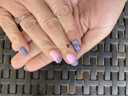 Nail art dégradé paillette