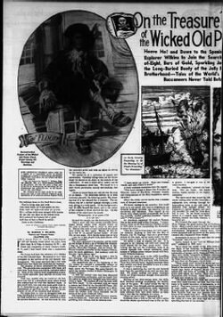 """The Tennessean from Nashville, Tennessee, page 54, """" On the treasure trail of the Wicked old pirate """" dimanche 10 mars 1940.(By  Wilkins T. Harold)"""