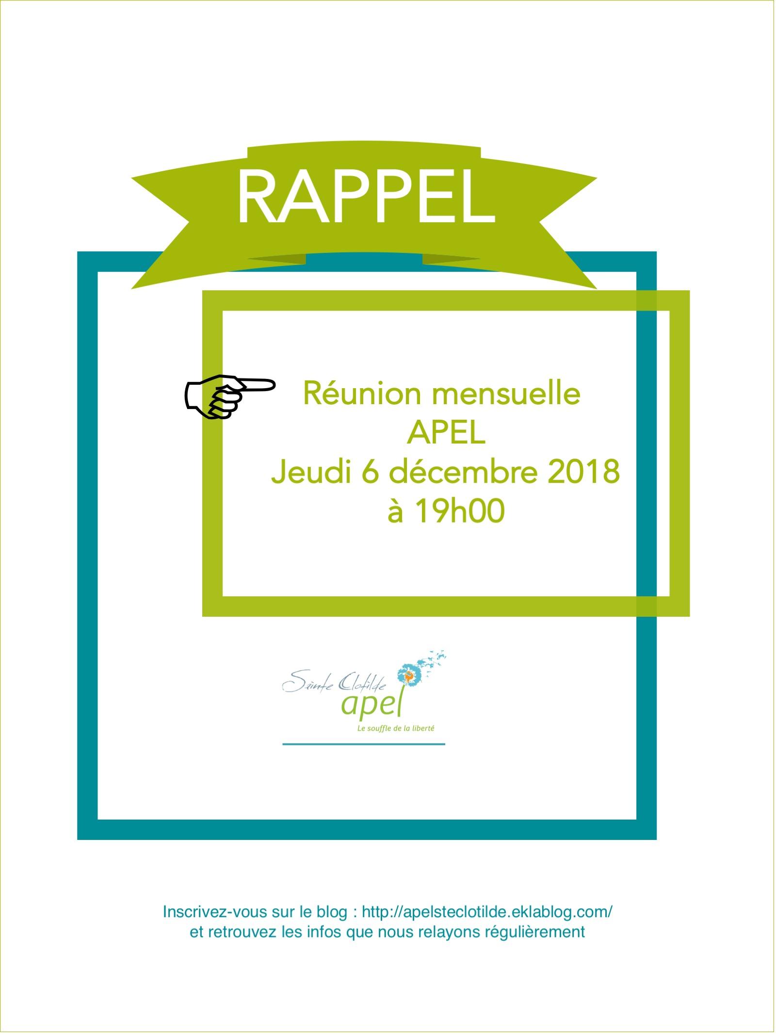 Réunion APEL du 06/12/2018