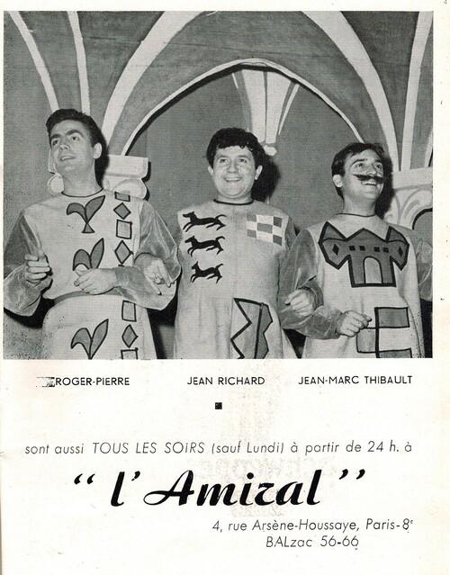 """Jean Richard au théâtre La Bruyèreen 1953 dans """" Le sire de Vergy"""""""